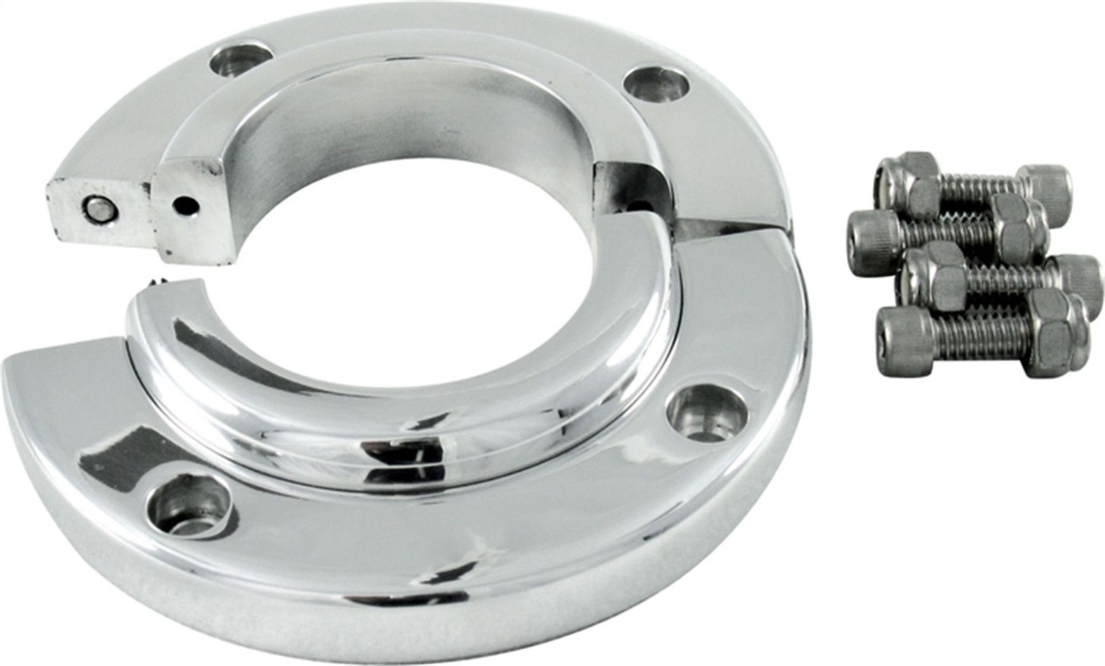 Borgeson 909008 Steering Column Bracket, Split, 4-1/8 in Outer Diameter, 2 in Diameter Tube, Swivel, Aluminum, Polished, Each