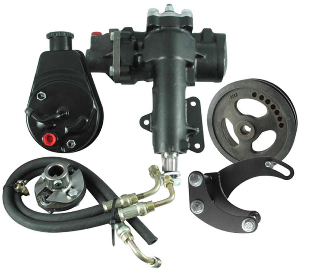 Borgeson 999016 Steering Box, Power, Delphi 600, 12.7 to 1 Ratio, Brackets/Joints/Lines/Pump, Iron, Small Block Chevy, Chevy Corvette 1963-66, Kit