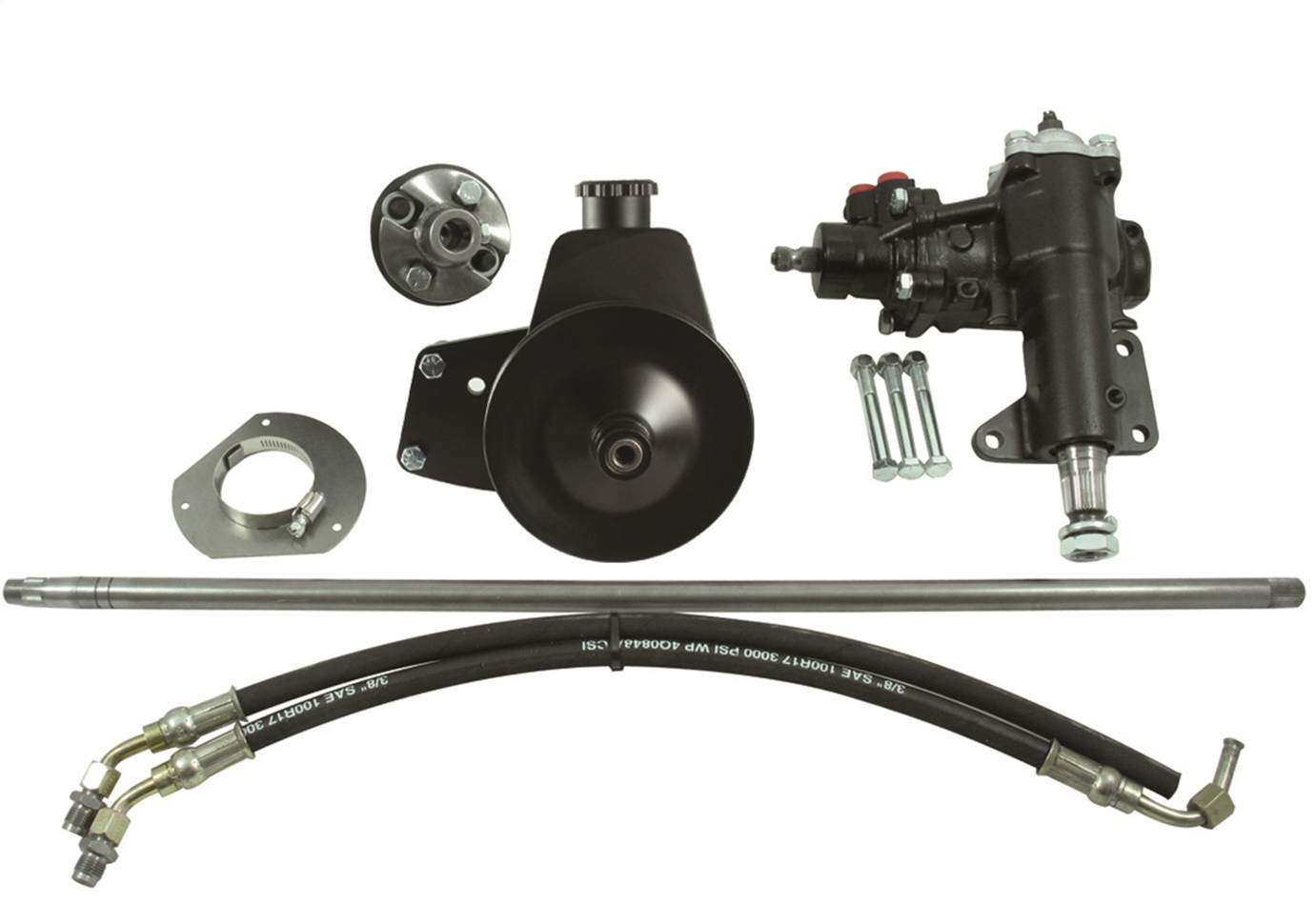Borgeson 999020 Steering Box, Power, 14 to 1 Ratio, Brackets / Joints / Lines / Pump, Iron, Small Block Ford, Ford Mustang 1965-66, Kit