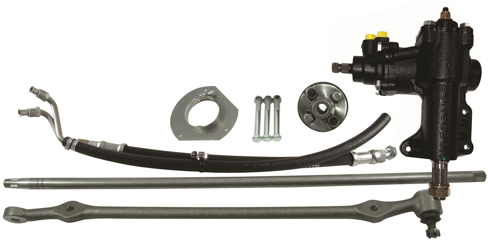 Borgeson 999023 Steering Box, Power, 14 to 1 Ratio, Joints / Lines, Iron, Ford V8, Ford Mustang 1965-66, Kit