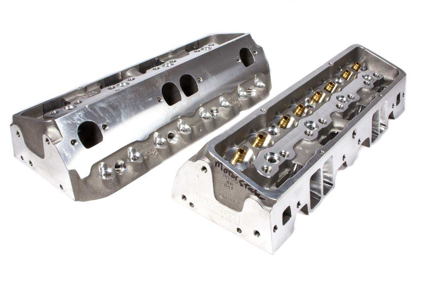 Brodix 1320000 Cylinder Head, DS 225, Bare, 2.080 / 1.600 in Valves, 225 cc Intake, 68 cc Chamber, Aluminum, Small Block Chevy, Pair