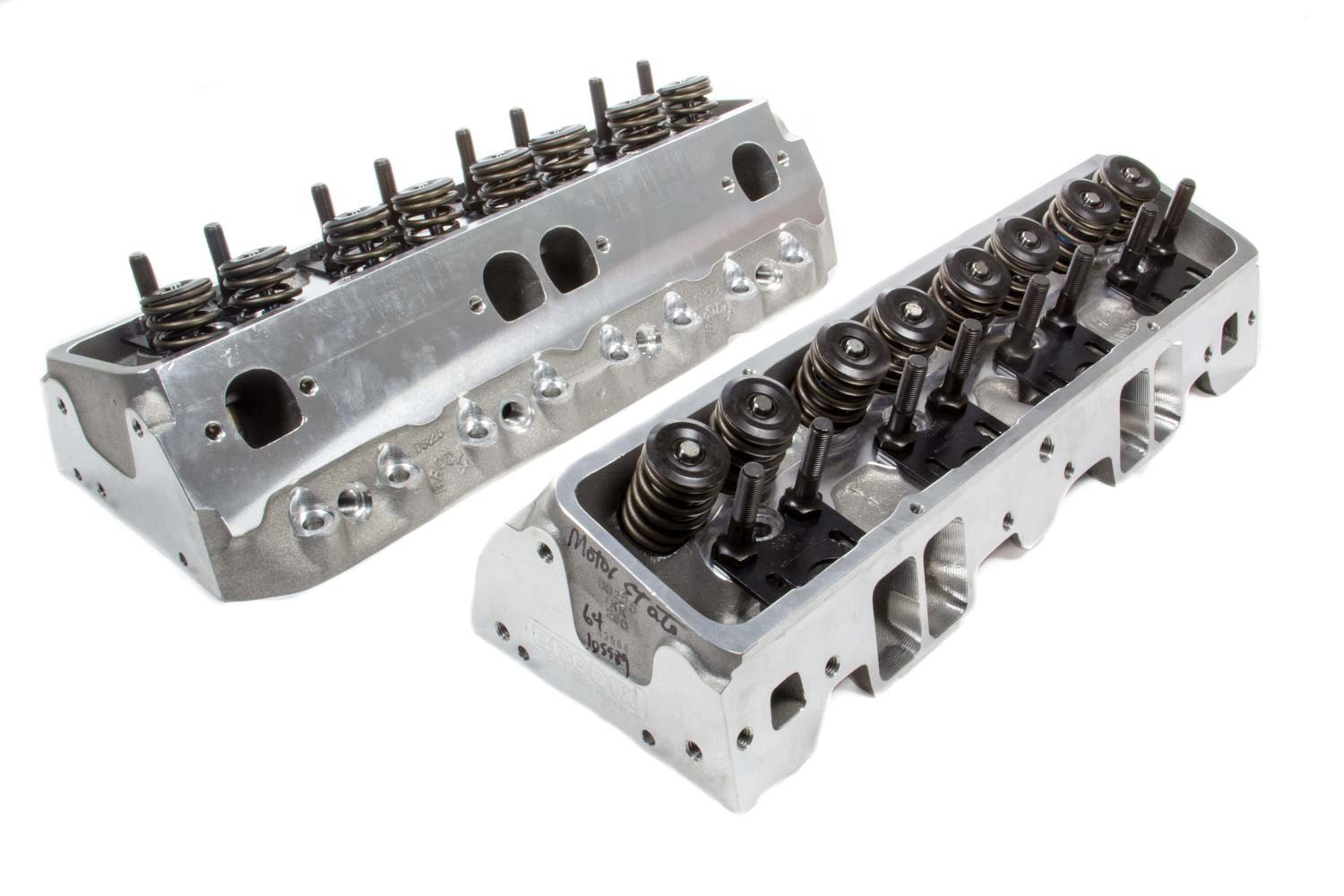 Brodix 1321000 Cylinder Head, DS 225, Assembled, 2.080 / 1.600 in Valves, 225 cc Intake, 68 cc Chamber, 1.550 in Springs, Aluminum, Small Block Chevy, Pair