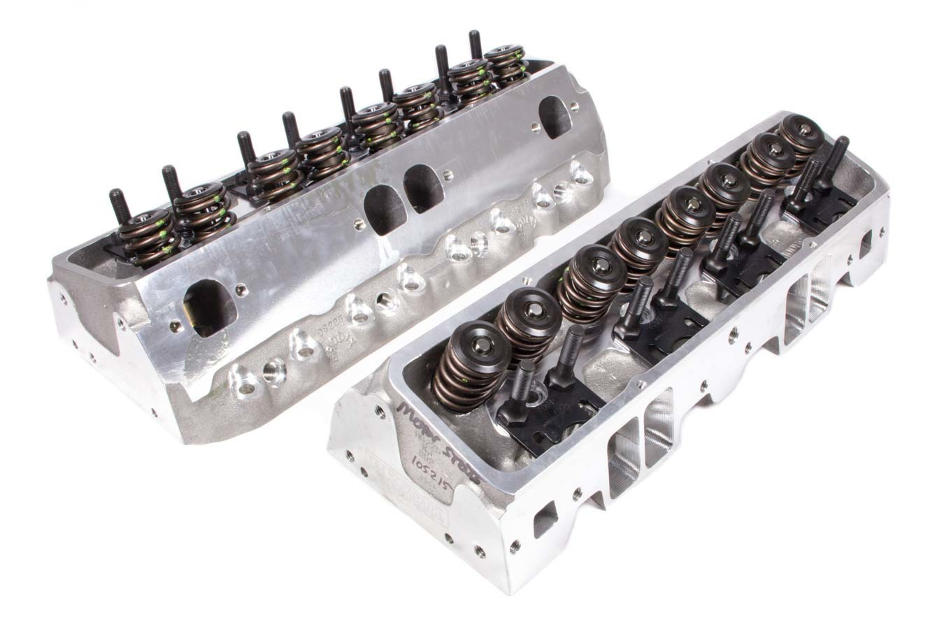 Brodix 1321001 Cylinder Head, DS 225, Assembled, 2.080 / 1.600 in Valves, 225 cc Intake, 68 cc Chamber, 1.550 in Springs, Aluminum, Small Block Chevy, Pair