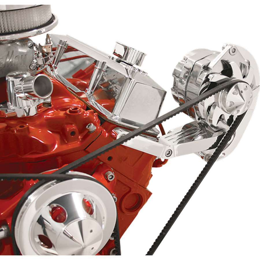 Billet Specialities 10420 Alternator Bracket, Driver Side, Head Mount, Billet Aluminum, Polished, GM Alternator, Short Water Pump, Small Block Chevy, Kit