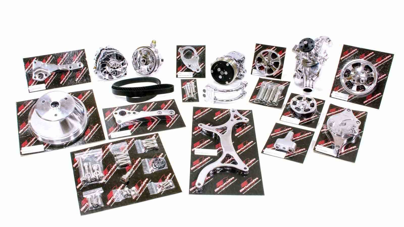 Billet Specialities 13220WP Pulley Kit, Premium Tru Trac, 6 Rib Serpentine, Polished, Short Water Pump, Small Block Chevy, Kit