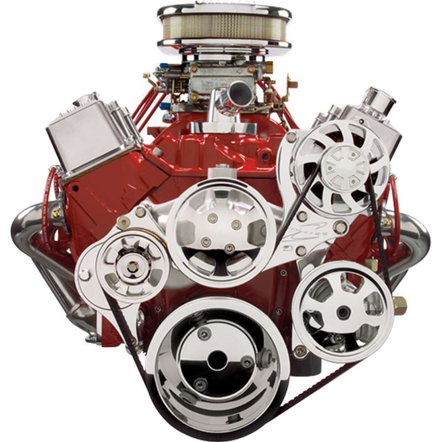 Billet Specialities 13225 Pulley Kit, Tru Trac, 6 Rib Serpentine, Billet Aluminum, Polished, Small Block Chevy, Kit