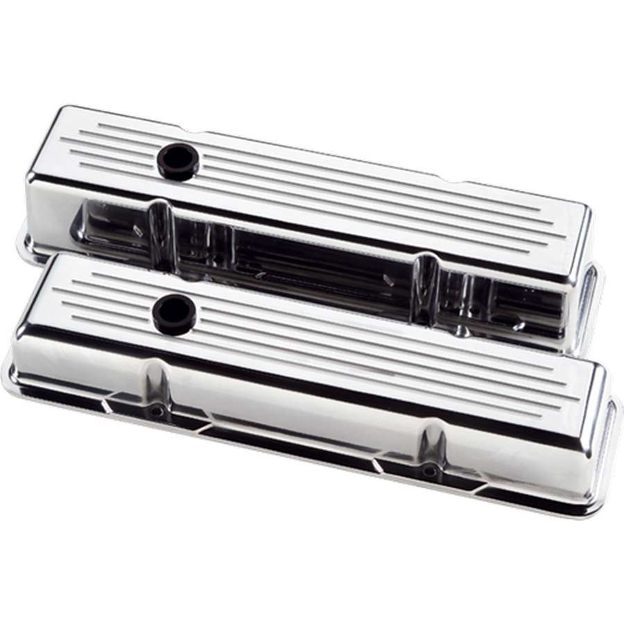 Billet Specialities 95120 Valve Cover, Stock Height, Baffled, Breather Hole, Grommets, Billet Aluminum, Polished, Small Block Chevy, Pair