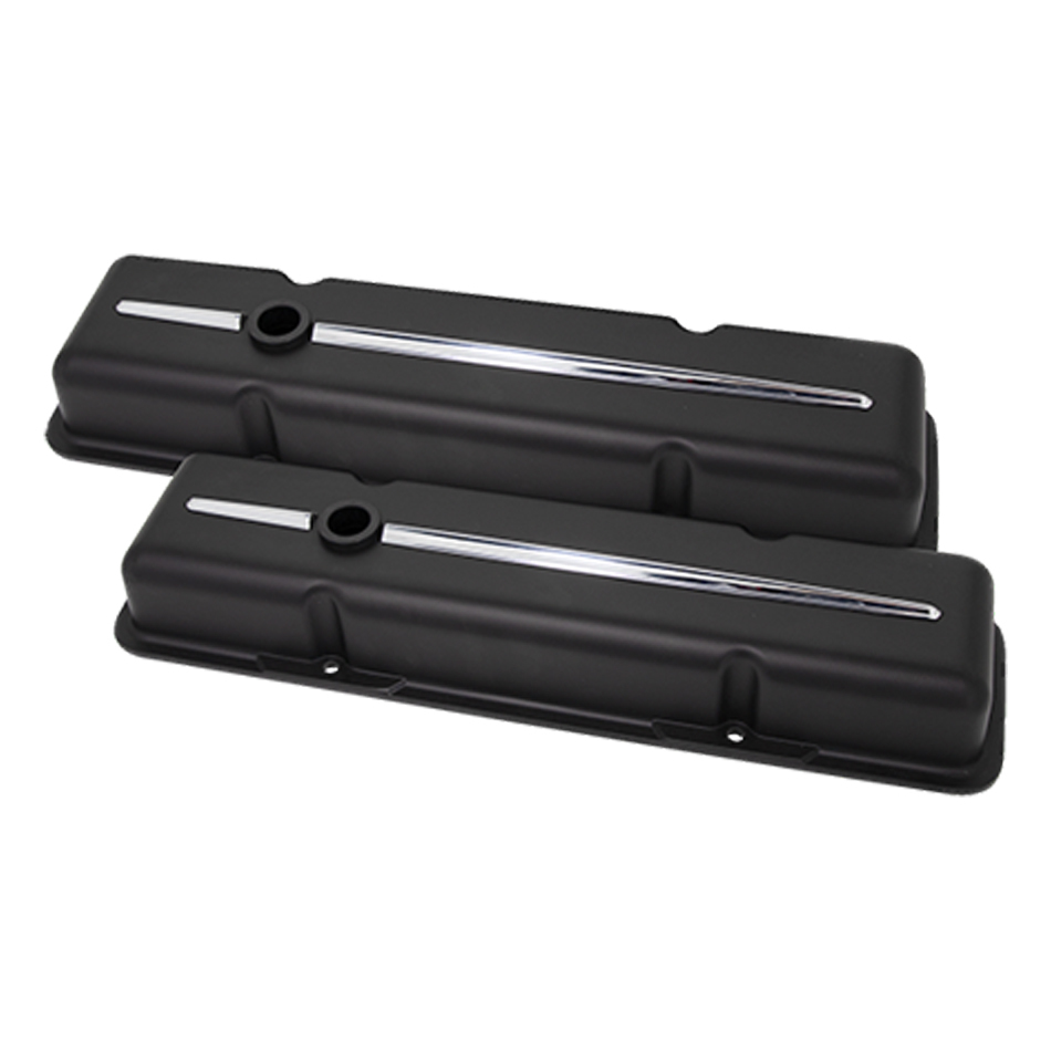 Billet Specialities 95124 Valve Cover, Streamline, Short, Baffled, Breather Hole, Grommets, Billet Aluminum, Black Powder Coat, Small Block Chevy, Pair