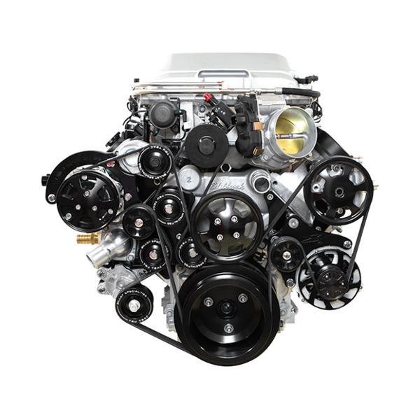 Billet Specialities BLK13410 Pulley Kit, LSA Tru Trac, 6 Rib Serpentine, Billet Aluminum, Black Anodized, GM LS-Series, Kit