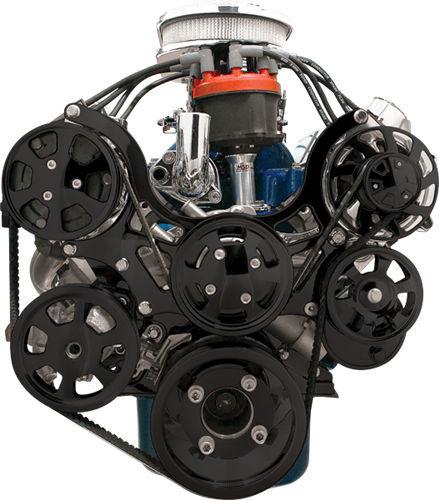 Billet Specialities BLK13600 Pulley Kit, Tru Trac, 6 Rib Serpentine, Billet Aluminum, Black Anodized, Small Block Ford, Kit