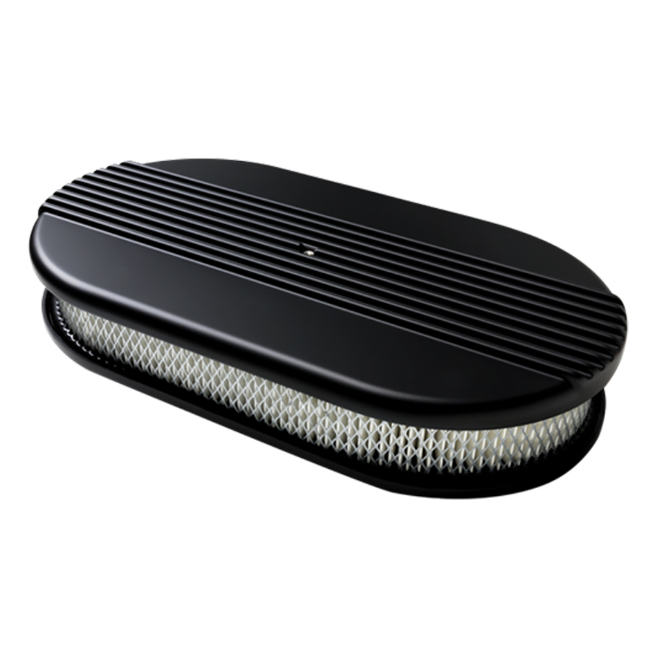 Billet Specialities BLK15640 Air Cleaner Assembly, 15 x 8-1/2 in Oval, 3 in Tall, 5-1/8 in Carb Flange, Aluminum, Black Powder Coat, Kit