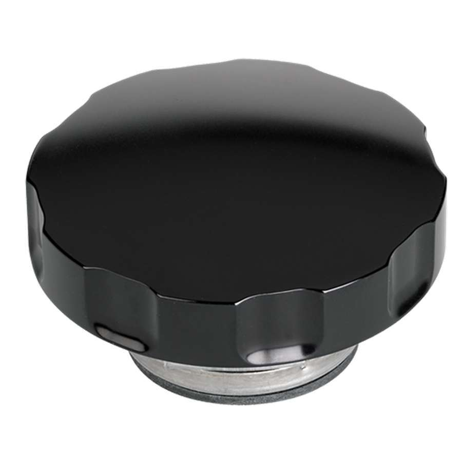Billet Specialities BLK75125 Radiator Cap, 16 lb, Round, Notch Grip, Aluminum, Smooth, Black Anodized, Each