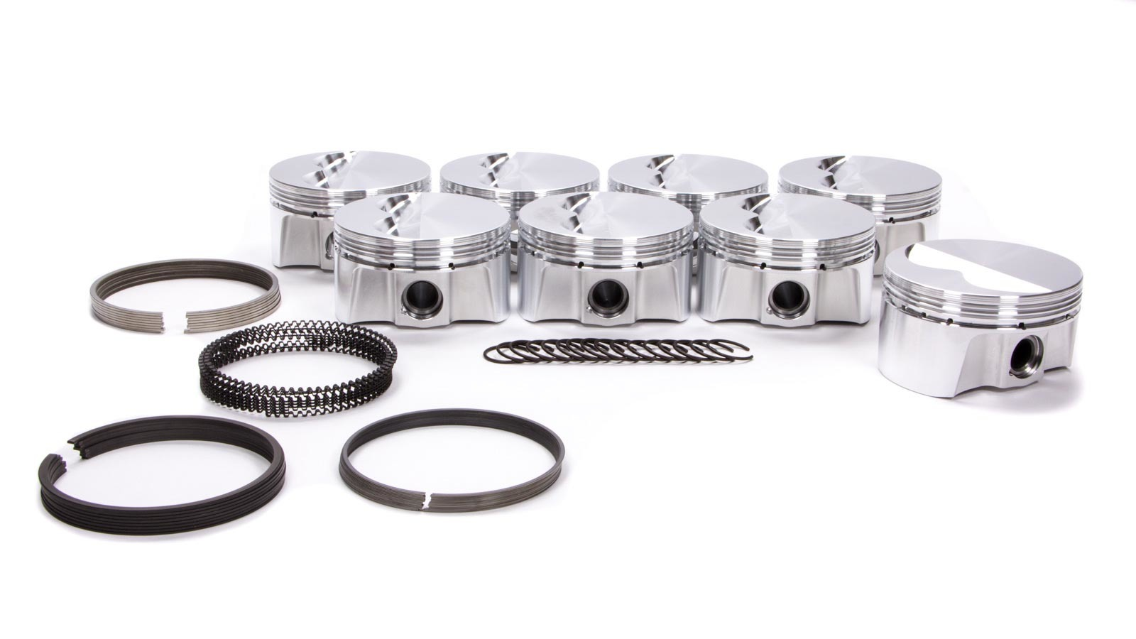 Bullet Pistons BC1021-STD-8 Piston and Ring, Forged, 4.000 in Bore, 1.5 x 1.5 x 3 mm Ring Grooves, Minus 6.8 cc, Small Block Chevy, Kit