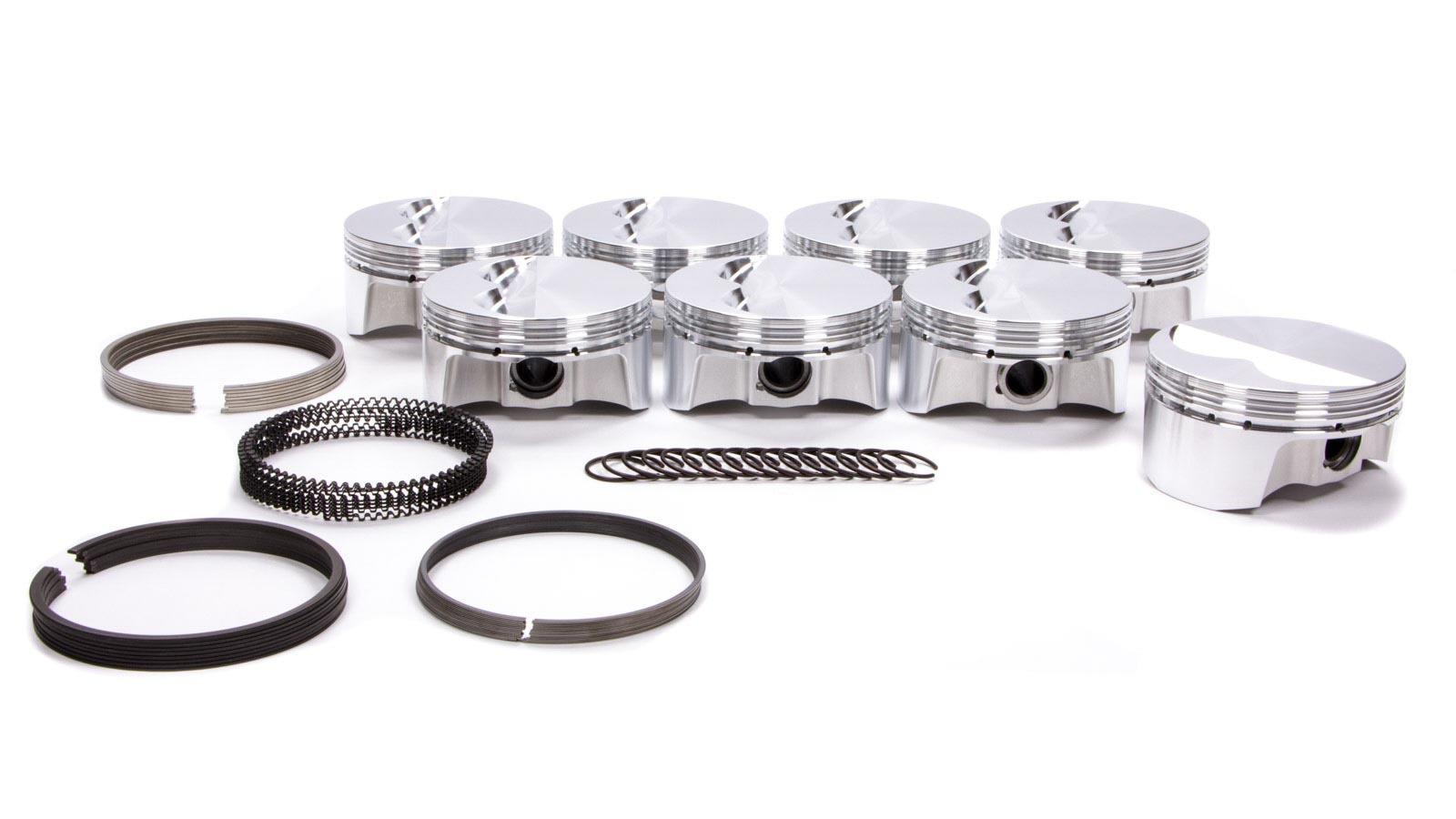 Bullet Pistons BC1100-040-8 Piston and Ring, Forged, 4.165 in Bore, 1.5 x 1.5 x 3 mm Ring Grooves, Minus 6.9 cc, Small Block Chevy, Kit