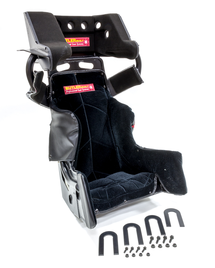 Butlerbuilt ADV14308-03-4001-FB Seat and Cover, Sprint Advantage SlideJob, 14-1/2 in Wide, 10 Degree Layback, HANS Cut-Out, Black Velour Cover Included, Aluminum, Black, Kit