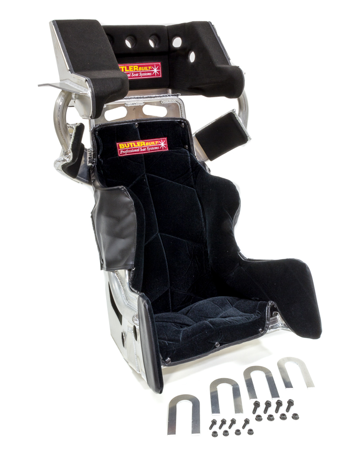 Butlerbuilt ADV15308-03-4001 Seat and Cover, Sprint Advantage SlideJob, 15-1/2 in Wide, 10 Degree Layback, HANS Cut-Out, Black Velour Cover, Aluminum, Natural, Kit