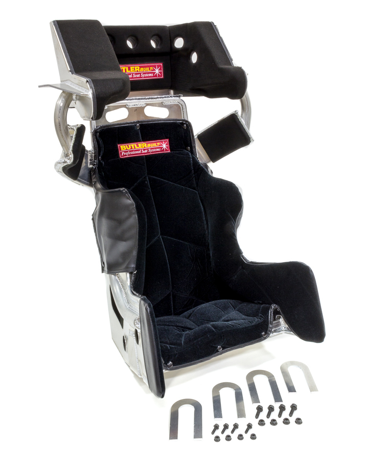 Butlerbuilt ADV16308-03-4001 Seat and Cover, Sprint Advantage SlideJob, 16-1/2 in Wide, 10 Degree Layback, HANS Cut-Out, Black Velour Cover, Aluminum, Natural, Kit