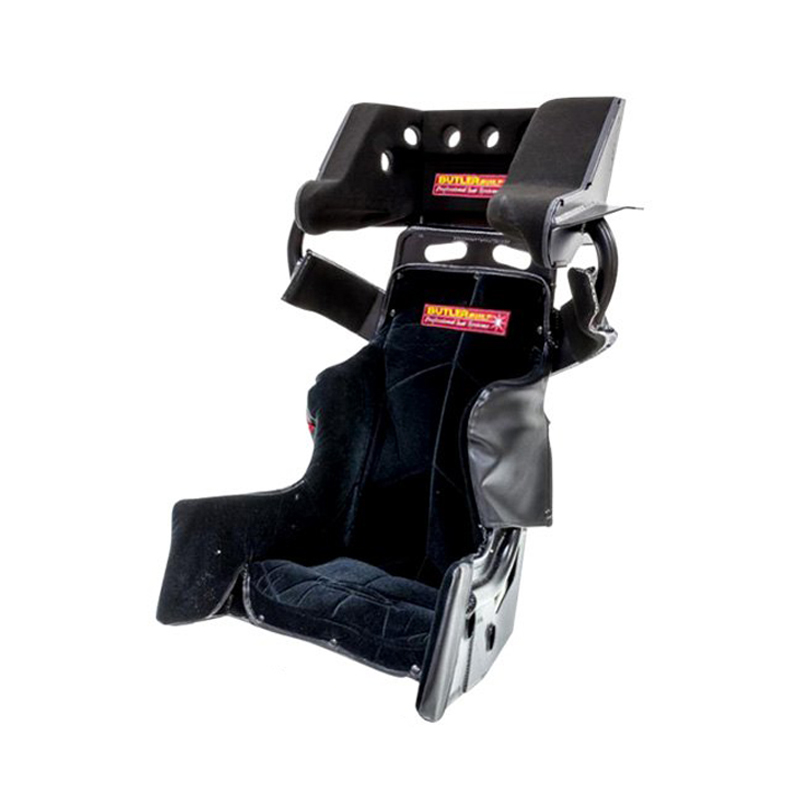 Butlerbuilt SFI-16203-4001 Seat and Cover, SFI Advantage II SlideJob, 16 in Wide, 20 Degree Layback, Black Cloth Cover Included, Aluminum, Natural, Kit