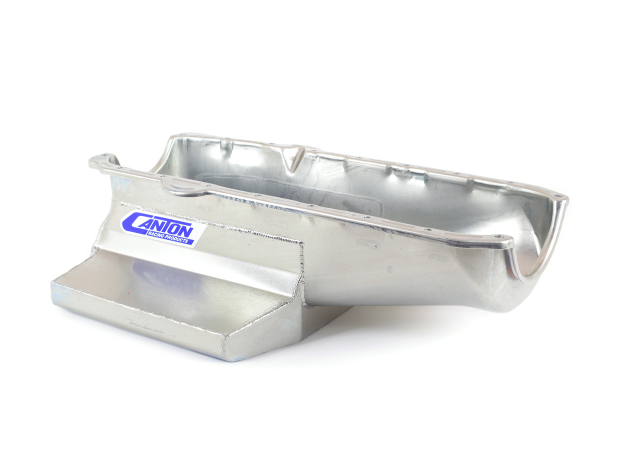 Canton 11-102 Engine Oil Pan, Oval Track, Rear Sump, 7 qt, 6-1/2 in Deep, Steel, Cadmium, Small Block Chevy, Each