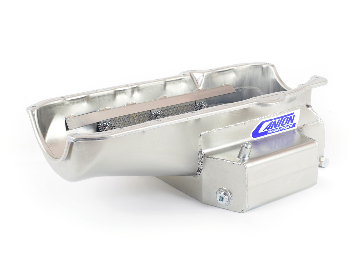 Canton 11-120M Engine Oil Pan, Oval Track, Rear Sump, 8 qt, 7 in Deep, Steel, Cadmium, Small Block Chevy, Each