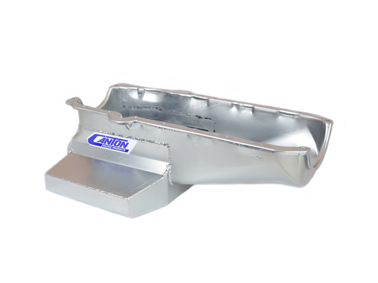 Canton 11-122M Engine Oil Pan, Oval Track, Rear Sump, 7 qt, 7 in Deep, Steel, Cadmium, Small Block Chevy, Each