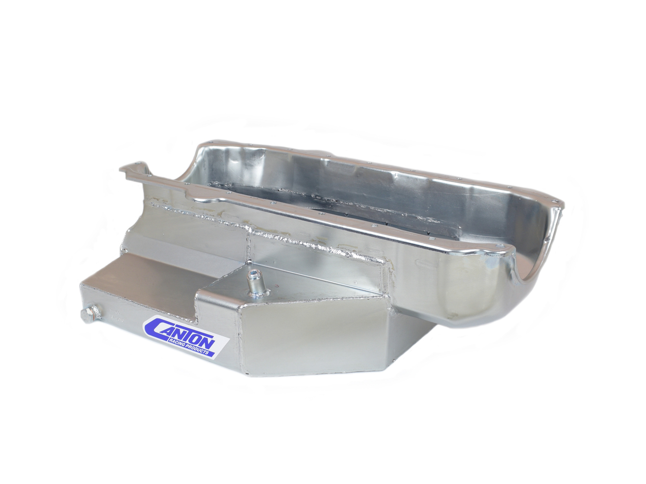 Canton 11-180 Engine Oil Pan, Oval Track, Rear Sump, 9 qt, 7 in Deep, Steel, Cadmium, Small Block Chevy, Each