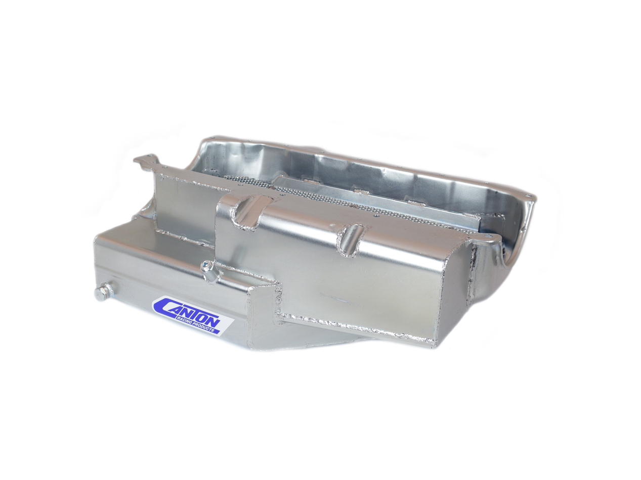 Canton 11-186 Engine Oil Pan, Oval Track, Rear Sump, 9 qt, 7 in Deep, Steel, Cadmium, Small Block Chevy, Each