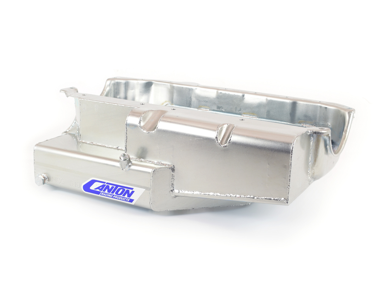 Canton 11-196 Engine Oil Pan, Oval Track, Rear Sump, 8 qt, 6-1/2 in Deep, Steel, Cadmium, Small Block Chevy, Each