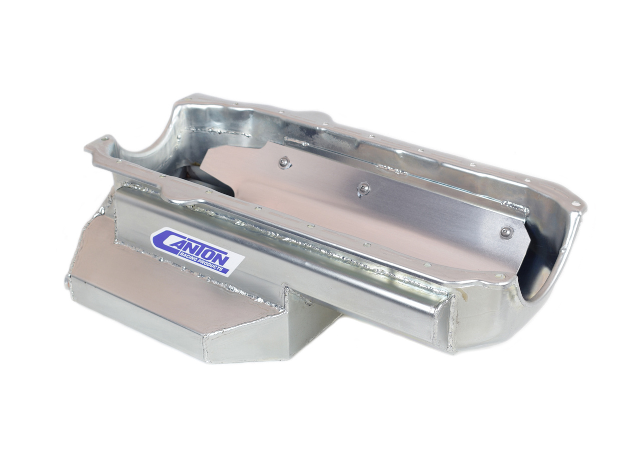 Canton 11-226 Engine Oil Pan, Oval Track, Rear Sump, 6-1/2 qt, 6-1/2 in Deep, Steel, Cadmium, Small Block Chevy, Each