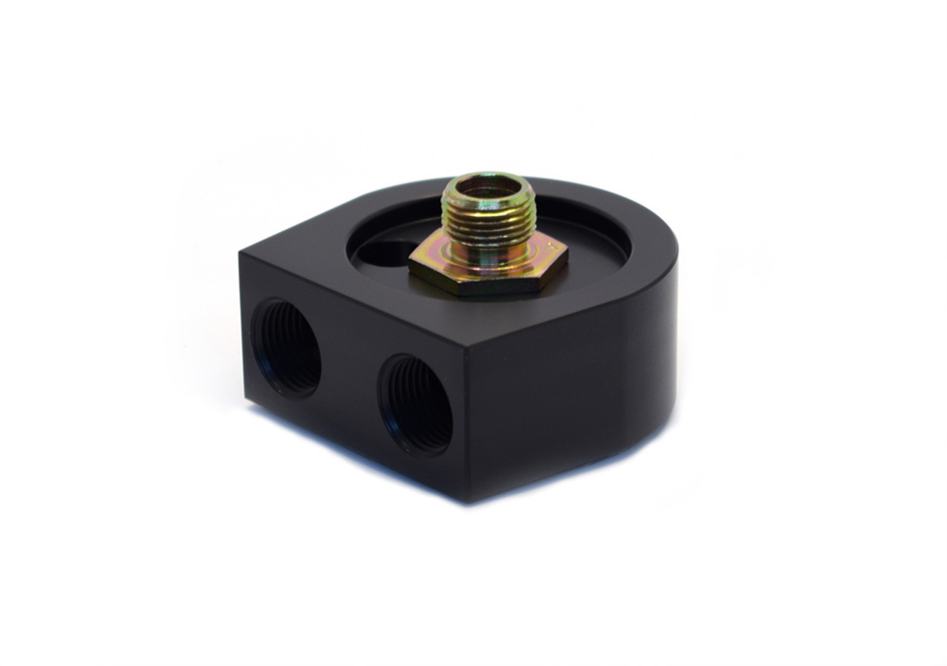 Canton 22-546 Oil Cooler Adapter, Sandwich, 13/16-16 in Center Thread, 1/2 in NPT Female Inlet, 1/2 in NPT Female Outlet, Billet Aluminum, Black Anodized, Each