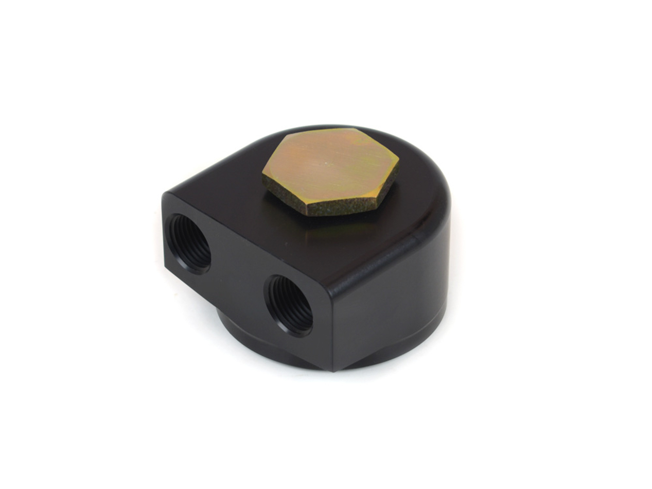 Canton 22-595 Oil Filter Adapter, Bypass, 3/4-16 in Center Thread, 1/2 in NPT Female Inlet, 1/2 in NPT Female Outlet, Billet Aluminum, Black Anodized, Each