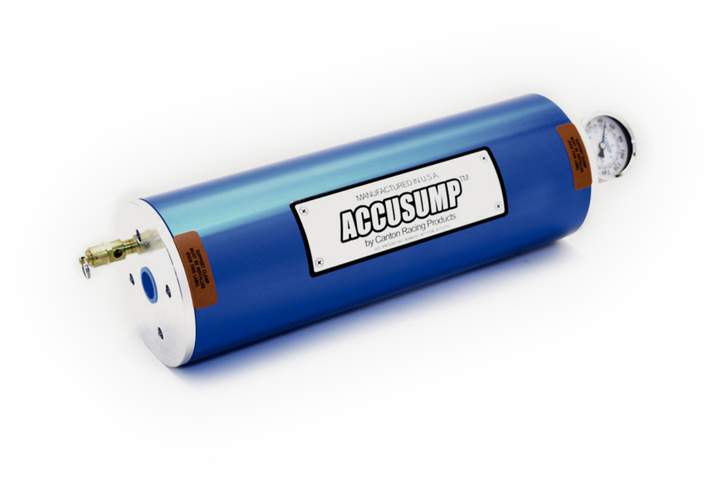 Canton 24-026 Oil Accumulator, Accusump, 2 qt Capacity, 4-1/4 in Diameter, 12 in Long, 1/2 in NPT, Aluminum, Blue Anodized, Each