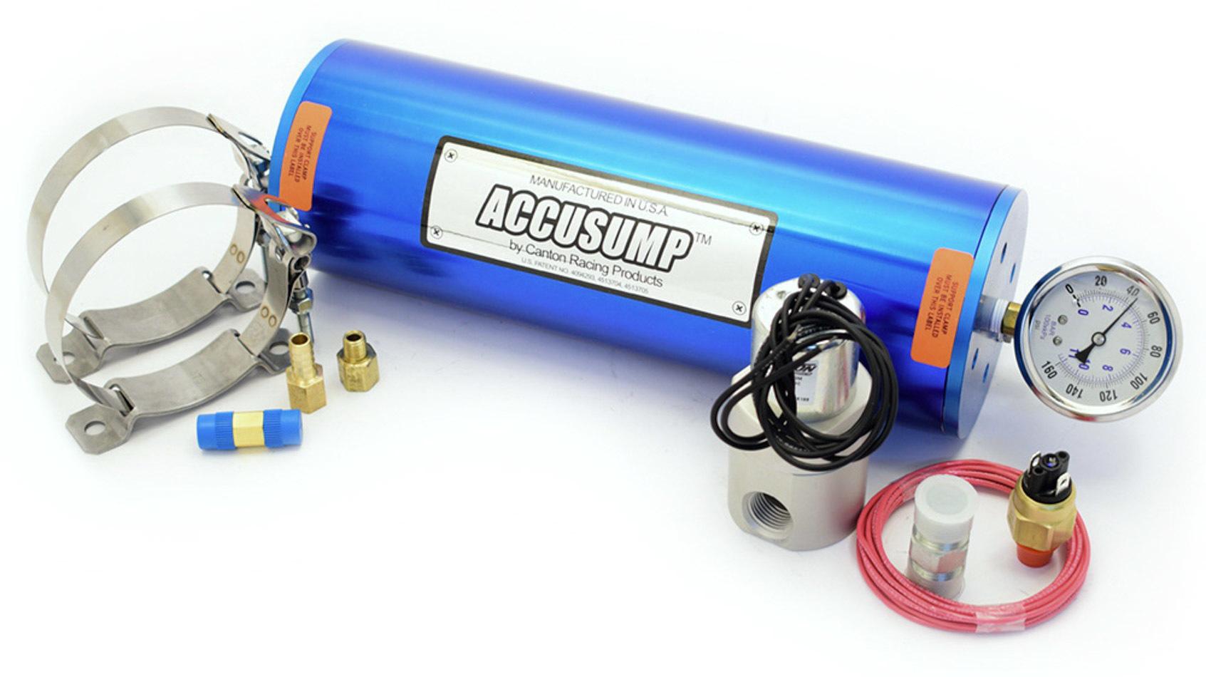 Canton 24-126 Oil Accumulator, Accusump, 2 qt Capacity, 4-1/4 in Diameter, 12 in Long, Aluminum, Blue Anodized, Each
