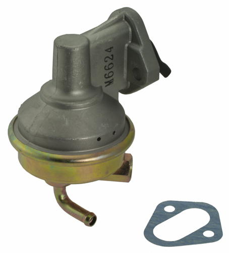 Carter M6624 Fuel Pump, Mechanical, 40 gph, 7.5-9 psi, 3/8 in Hose Barb Inlet, 5/8 in Inverted Flare Female Outlet, Aluminum, Natural, Gas, Small Block Chevy, Each
