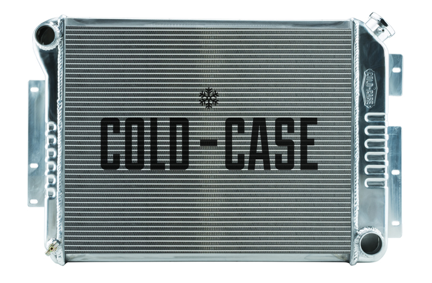 Cold Case Radiators CHC549 Radiator, 28.8 in W x 18.5 in H x 3 in D, Driver Side Inlet, Passenger Side Outlet, Aluminum, Polished, Manual, Small Block Chevy, GM F-Body 1967-69, Each
