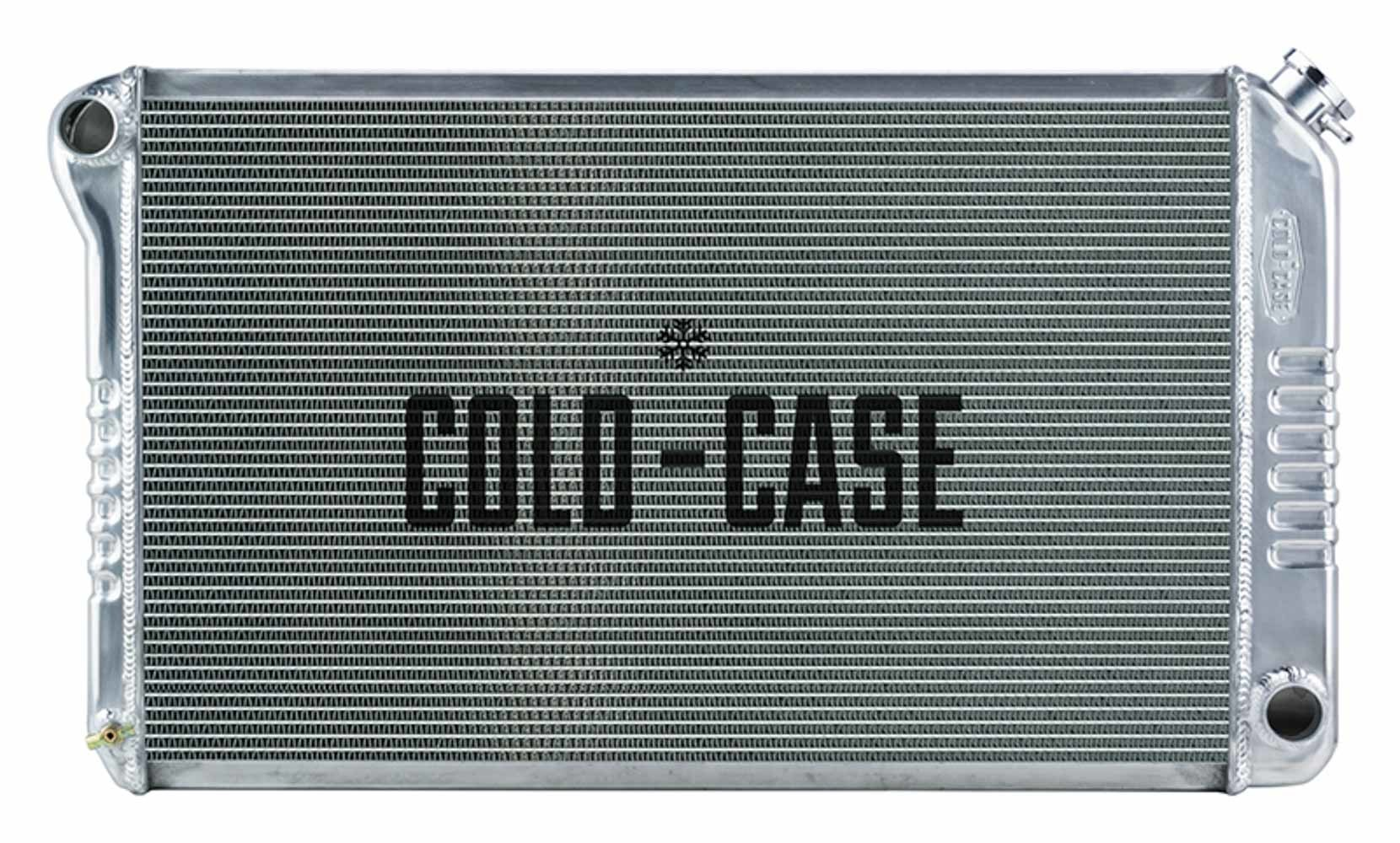 Cold Case Radiators GPF18 Radiator, 33.2 in W, 18.8 in H, 3 in D, Driver Side Inlet, Passenger Side Outlet, Aluminum, Polished, Manual, GM F-Body 1970-81, Each