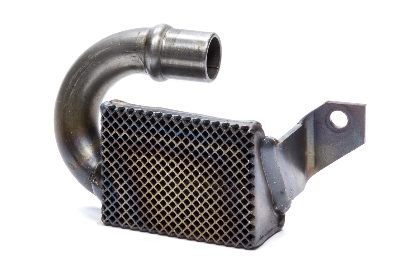 Champ Pans 51SB Oil Pump Pickup, Competition, Press / Bolt-On, 3/4 in Inlet Tube, 7-3/4 in Deep Pan, Small Block Chevy, Each