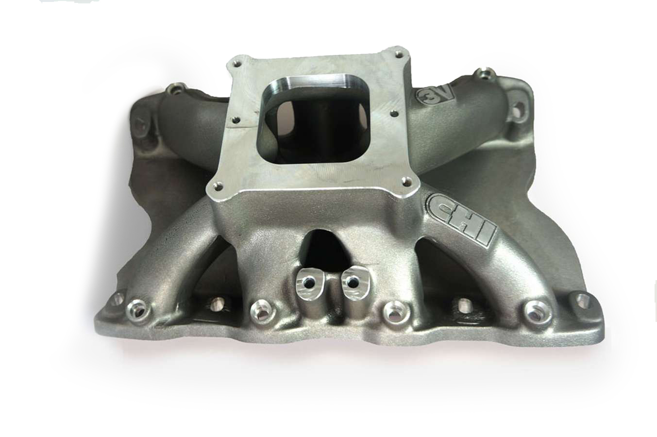 Cylinder Head Innovations INT3V185H8.2W Intake Manifold, 3V, Square Bore, 8.200 in Deck Height, Aluminum, Natural, Small Block Ford, Each