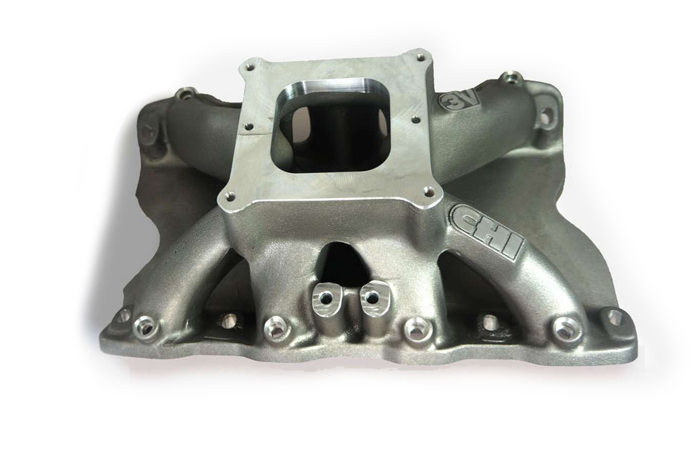 Cylinder Head Innovations INT3V208D9.5W Intake Manifold, 3V, Dominator Flange, 9.500 in Deck Height, Aluminum, Natural, Small Block Ford, Each