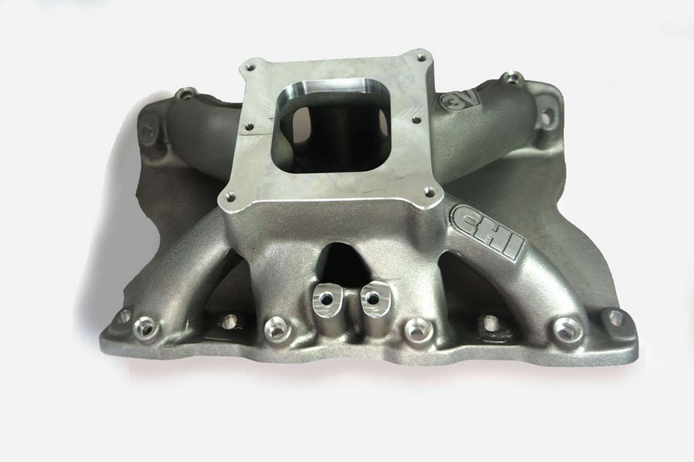 Cylinder Head Innovations INT3V208H8.2W Intake Manifold, 3V, Square Bore, 8.200 in Deck Height, Aluminum, Natural, Small Block Ford, Each