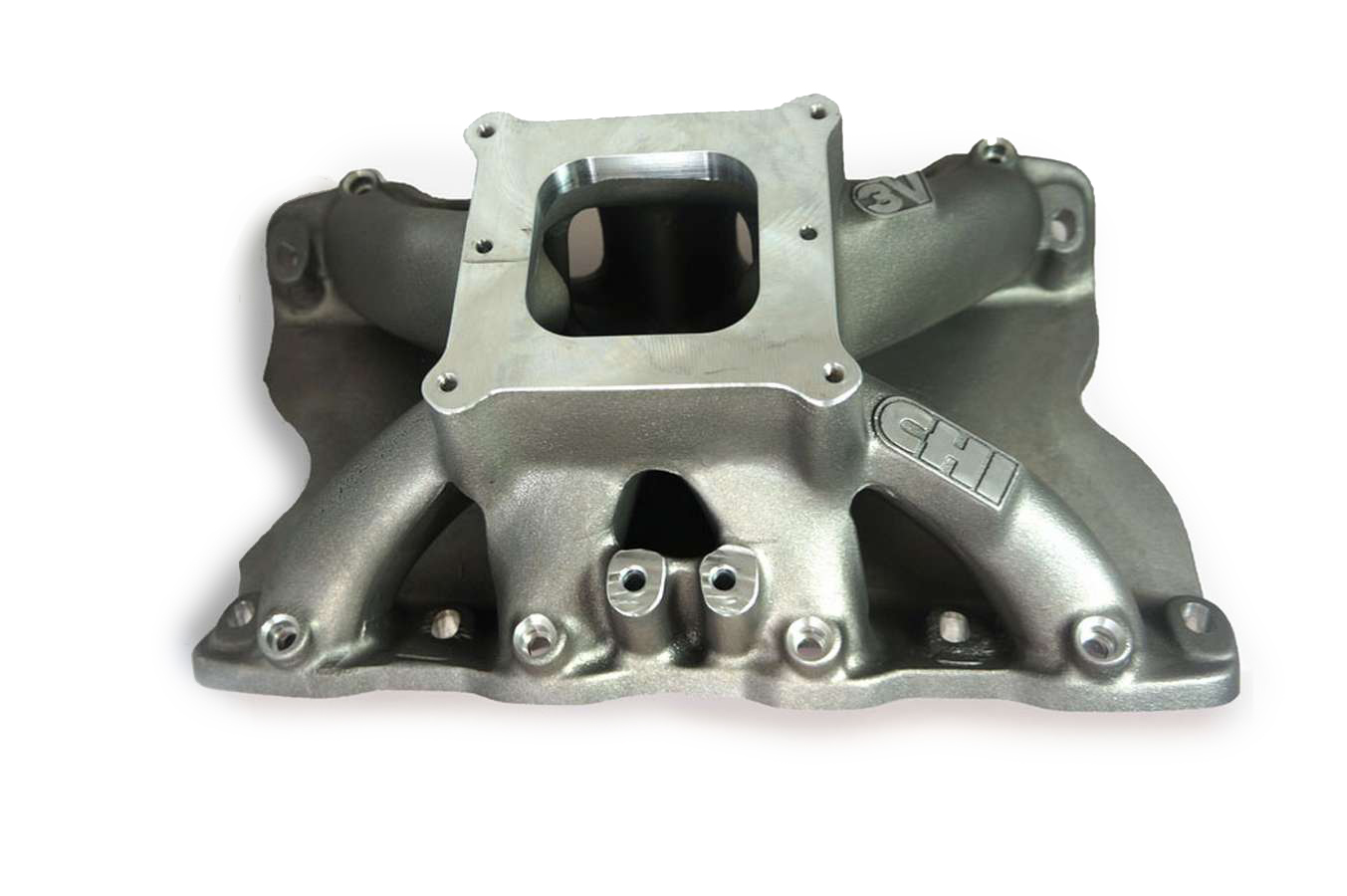 Cylinder Head Innovations INT3V225H9.5W Intake Manifold, 3V, Square Bore, 9.500 in Deck Height, Aluminum, Natural, Small Block Ford, Each