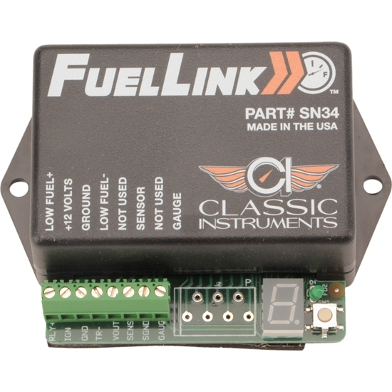 Classic Instruments SN34 Fuel Level Interface, Fuellink, 0-35 Ohms, LED Calibration Readout, Low Fuel Light Trigger, Kit
