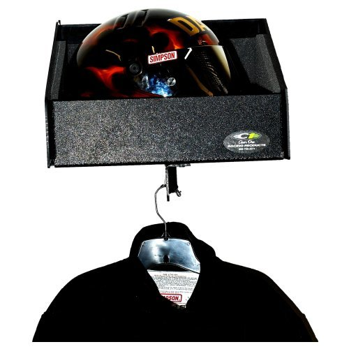 Clear One TC116 Helmet Shelf, 1 Bay, Foam Lining, 15-1/2 x 13 x 13 in, Plastic, Black, Each