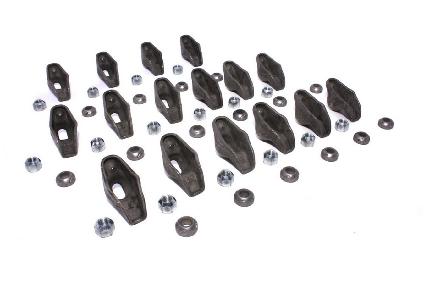 Comp Cams 1217-16 Rocker Arm, High Energy, 3/8 in Stud Mount, 1.50 Ratio, OEM / Long Slot, Nitride Steel, Small Block Chevy, Set of 16