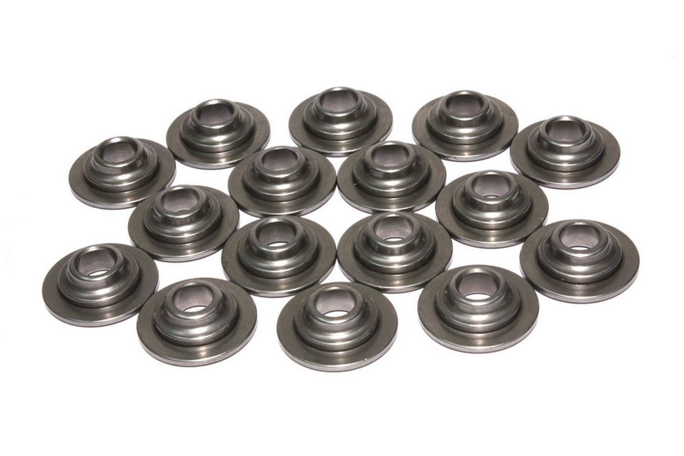Comp Cams 1756-16 Valve Spring Retainer, 10 Degree, 0.725 in / 0.466 in OD Steps, 1.185 in Dual Spring, Steel, Set of 16