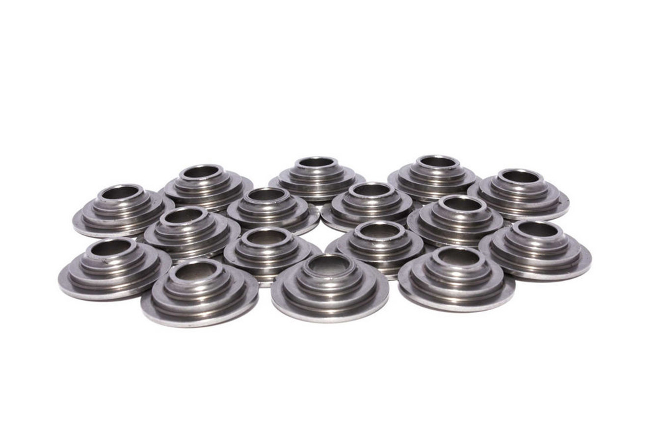 Comp Cams 1779-16 Valve Spring Retainer, 7 Degree, 0.910 in / 0.646 in OD Steps, 1.290 in Dual Spring, Steel, Set of 16