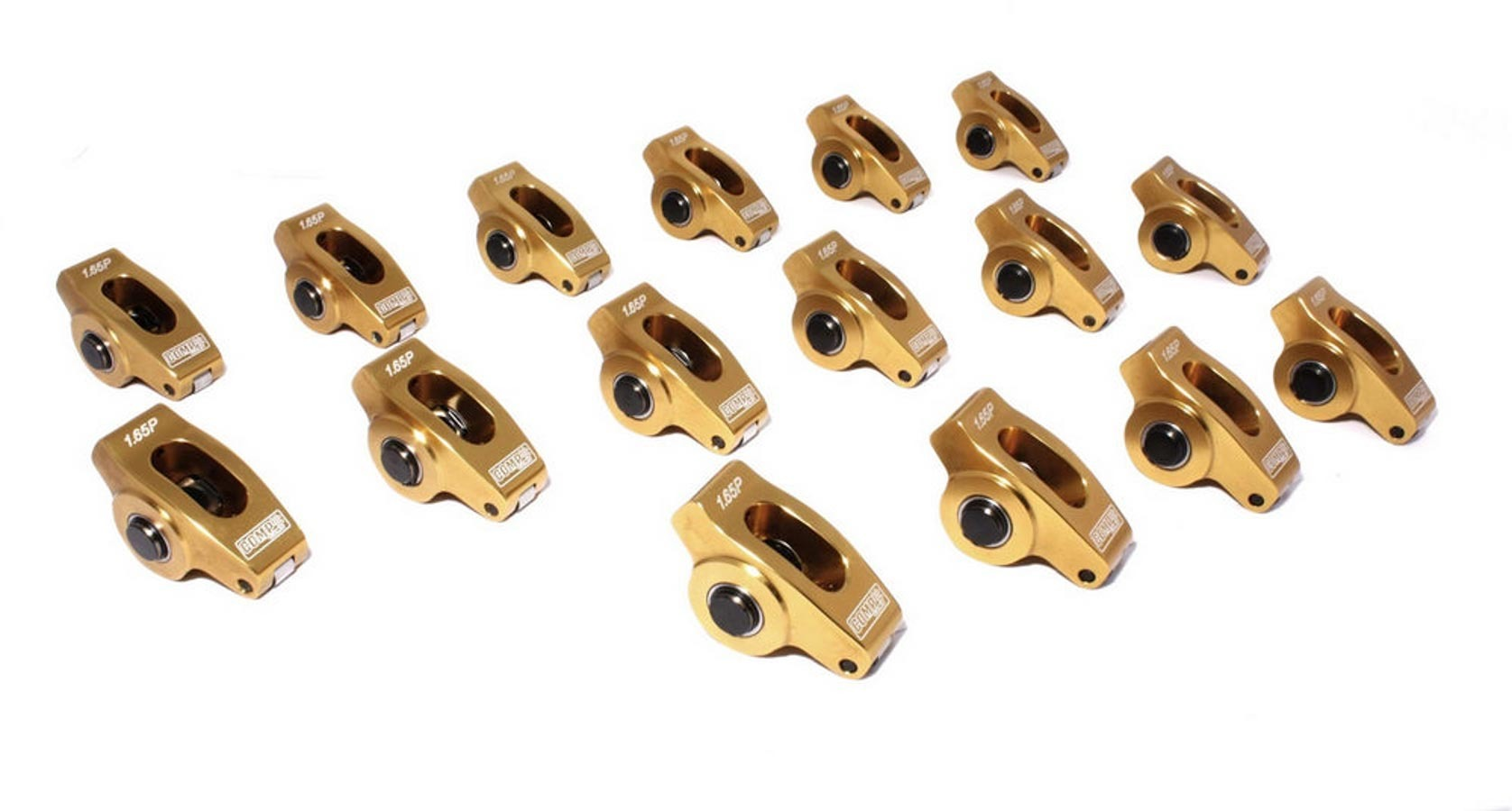 Comp Cams 19061-16 Rocker Arm, Ultra Gold ARC, 7/16 in Stud Mount, 1.65 Ratio, Full Roller, Aluminum, Gold Anodized, Pontiac V8, Set of 16