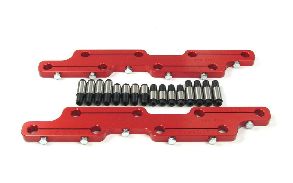 Comp Cams 4021 Rocker Arm Stud Girdle, 7/16-20 in Thread Studs, Aluminum, Red Anodized, Big Block Chevy, Kit