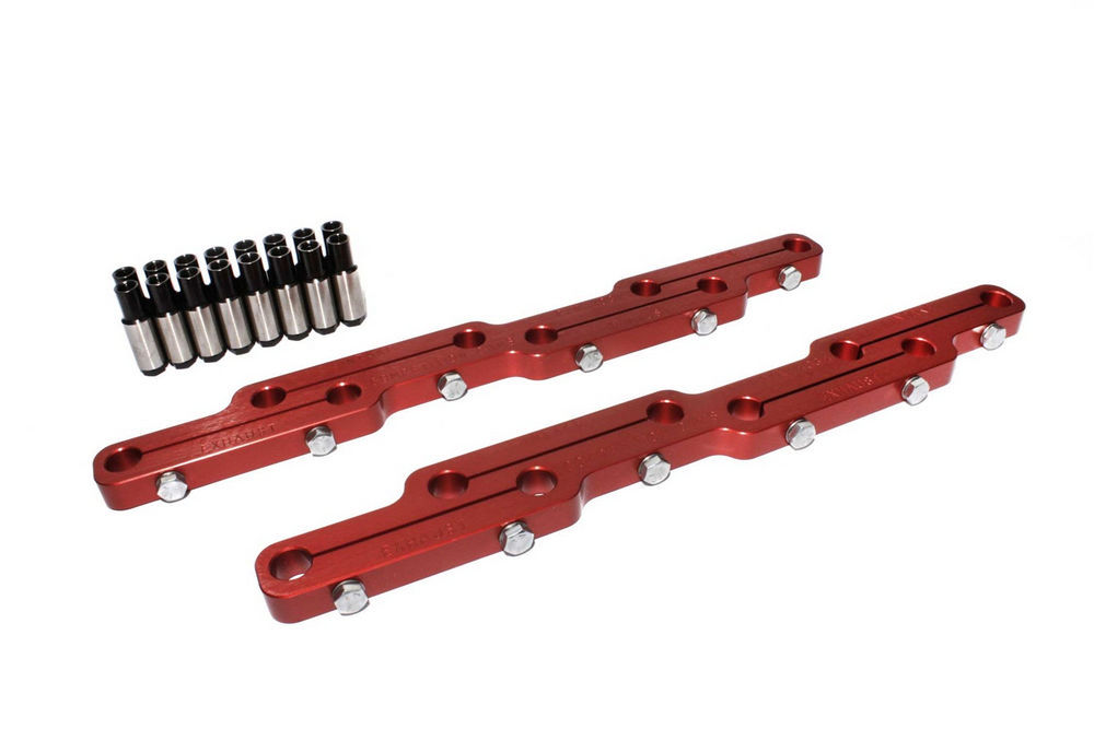 Comp Cams 4034 Rocker Arm Stud Girdle, 7/16-20 in Thread Studs, Aluminum, Red Anodized, Big Block Ford, Kit