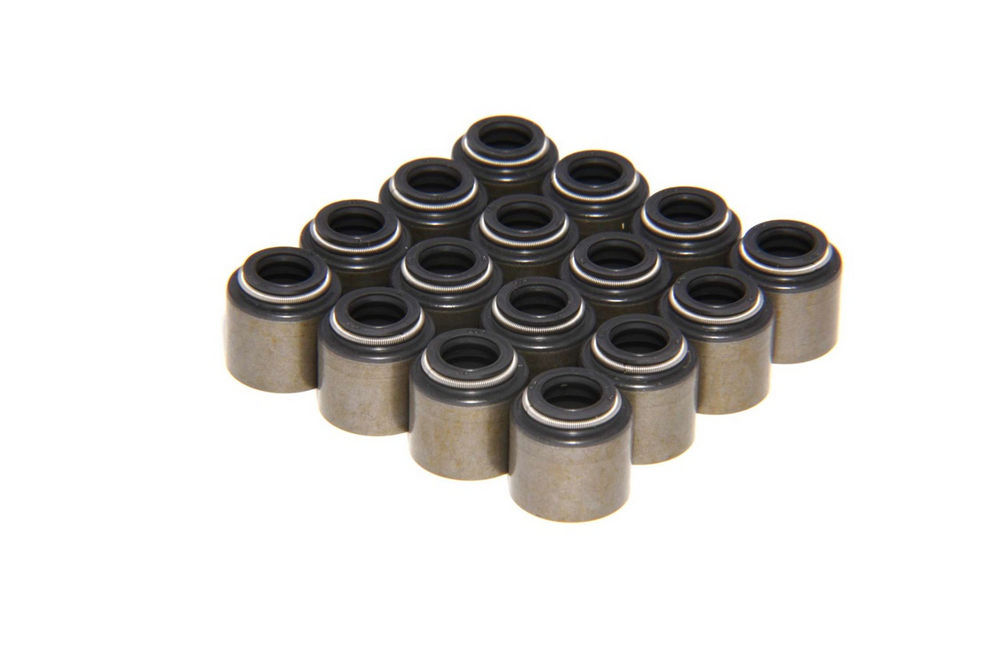 Comp Cams 511-16 Valve Stem Seal, Positive Stop, 8 mm Valve Stem, 0.494 in Guide, Steel Jacket / Viton, GM LS-Series, Set of 16